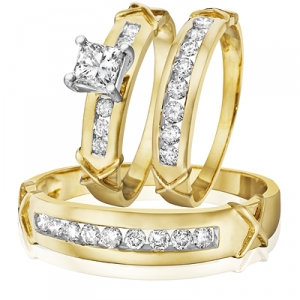 trio wedding ring set