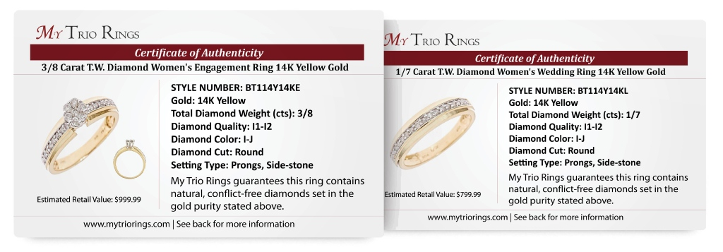 1/2 Carat Diamond Bridal Wedding Ring Set 14K Yellow Gold - Certificate