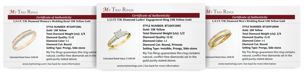 1 Carat Diamond Trio Wedding Ring Set 10K Yellow Gold - Certificate