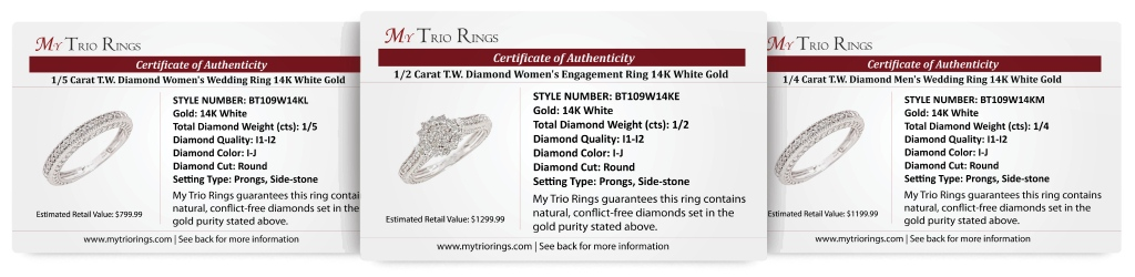 1 Carat Diamond Trio Wedding Ring Set 14k White Gold - Certificate
