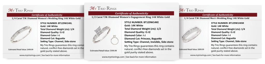 4/5 Carat Diamond Trio Wedding Ring Set 14k White Gold - Certificate