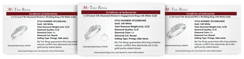 1/4 Carat Diamond Trio Wedding Ring Set 14K White Gold - Certificate