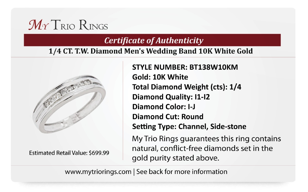 1/4 CT. T.W. Diamond Men's Wedding Band 10K White Gold - Certificate