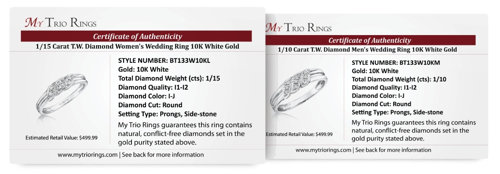 1/7 Carat T.W. Diamond Ladies' and Men's Wedding Rings 10K White Gold - Certificate