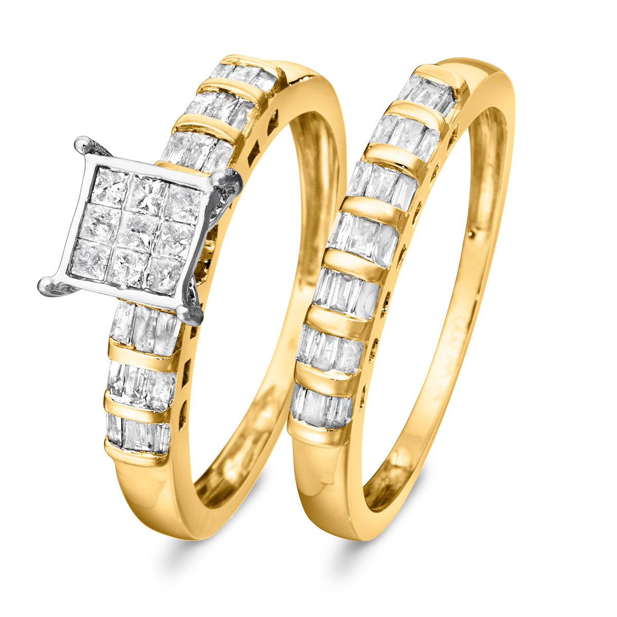 3/4 Carat Diamond Bridal Wedding Ring Set 10K Yellow Gold