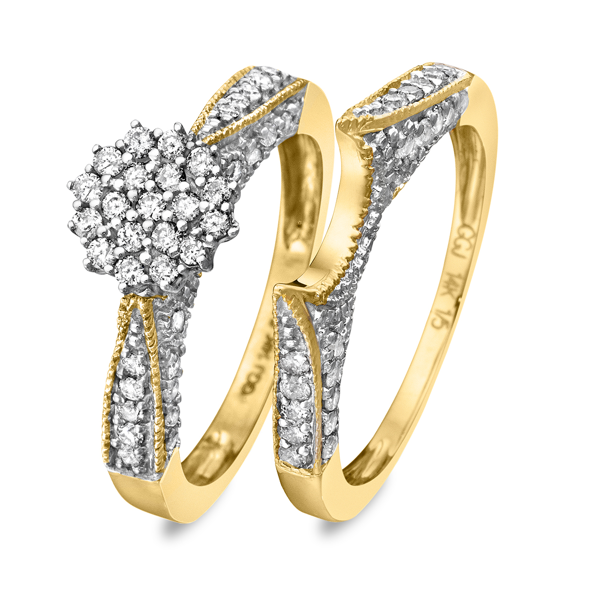 3/4 Carat Diamond Bridal Wedding Ring Set 14K Yellow Gold
