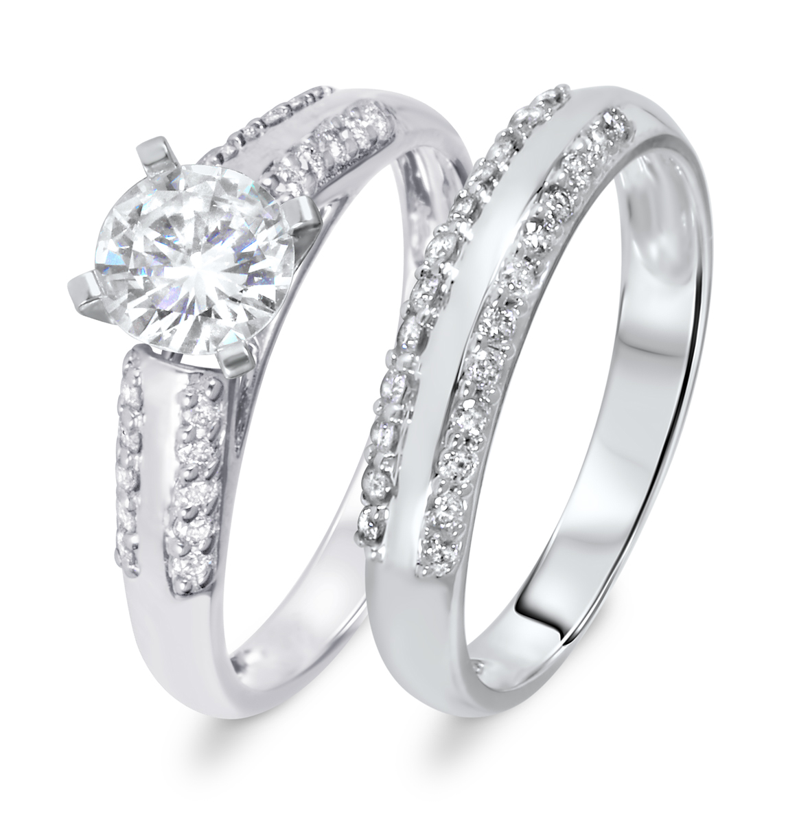 1 1/5 CT. T.W. Diamond Women's Bridal Wedding Ring Set 14K White Gold
