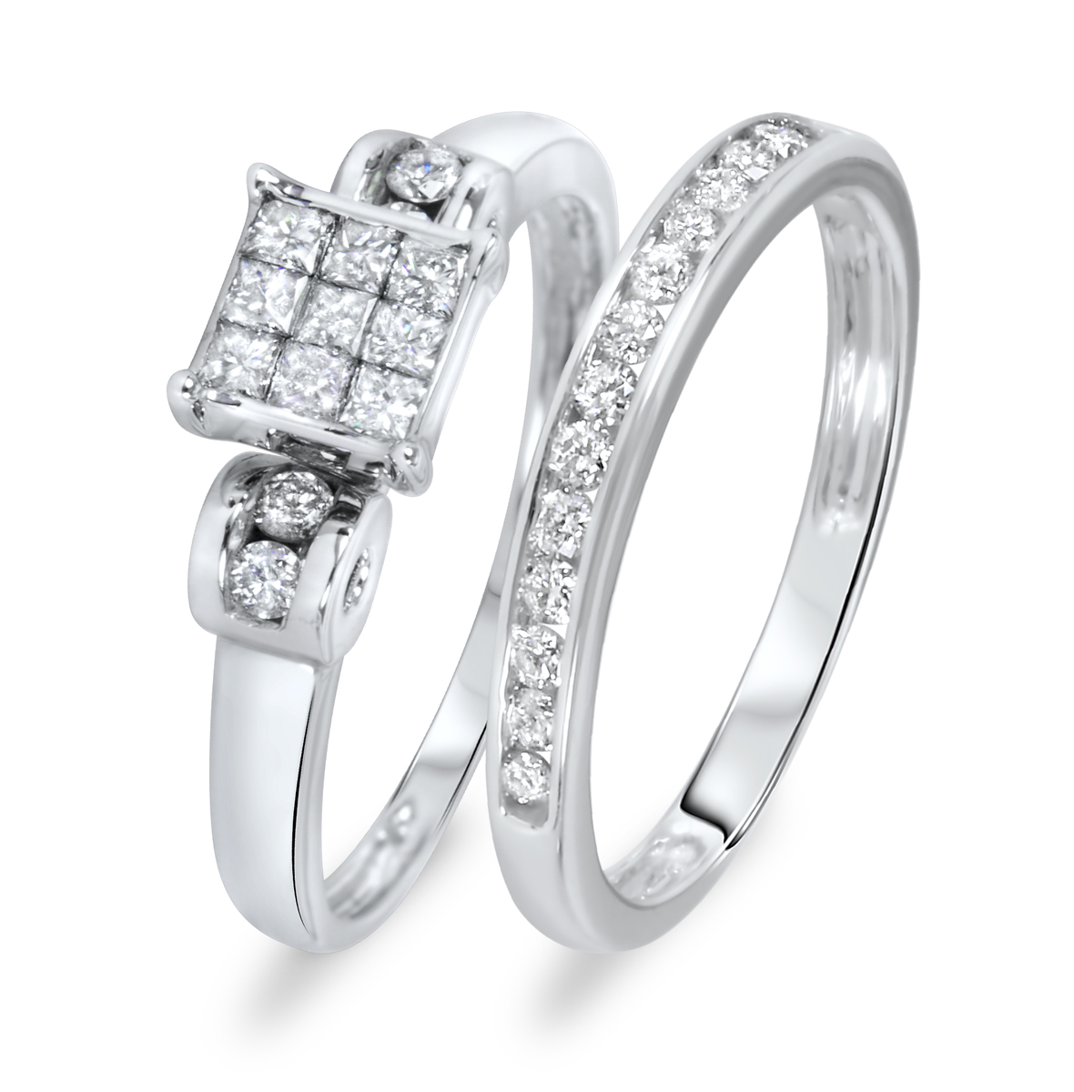 3/8 Carat Diamond Bridal Wedding Ring Set 14K White Gold