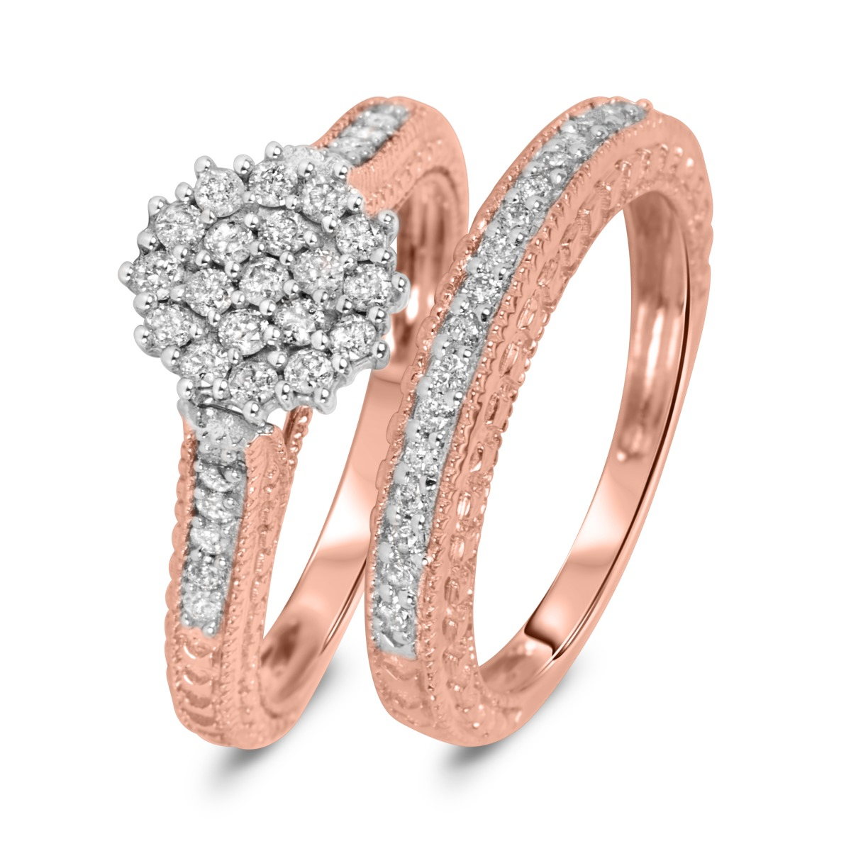 3/4 Carat Diamond Bridal Wedding Ring Set 10K Rose Gold