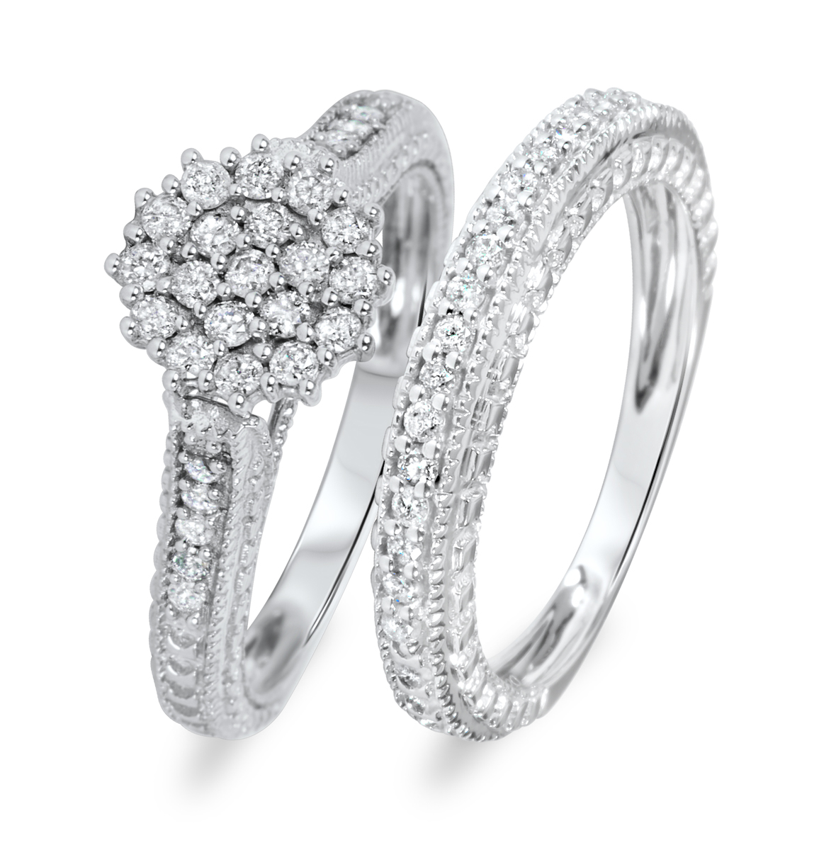 3/4 Carat Diamond Bridal Wedding Ring Set 10K White Gold