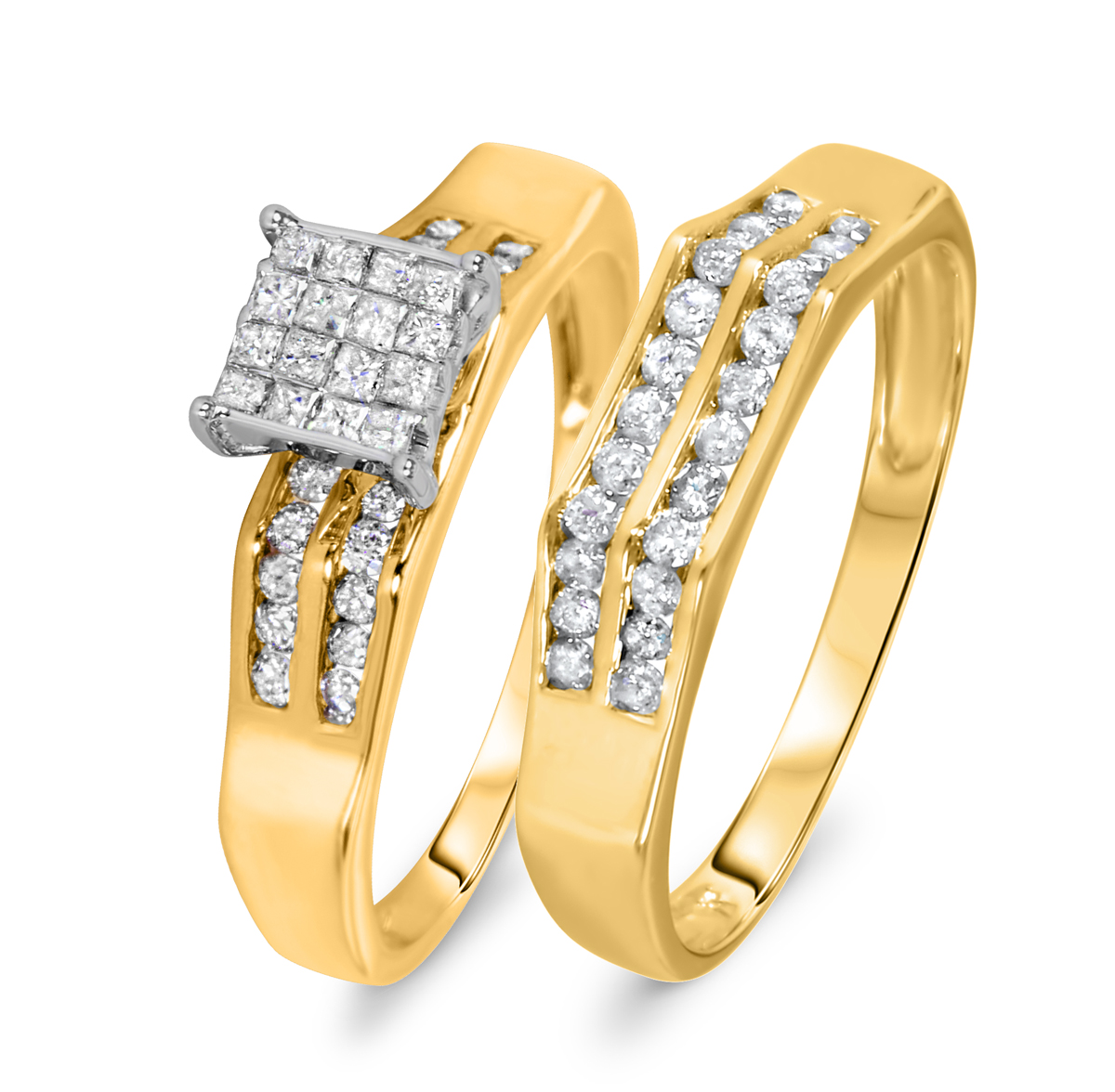 5/8 Carat Diamond Bridal Wedding Ring Set 10K Yellow Gold