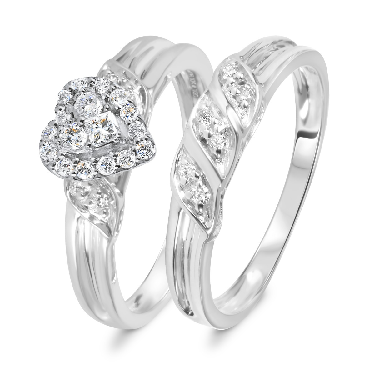 1/3 CT. T.W. Diamond Women's Bridal Wedding Ring Set 14K White Gold