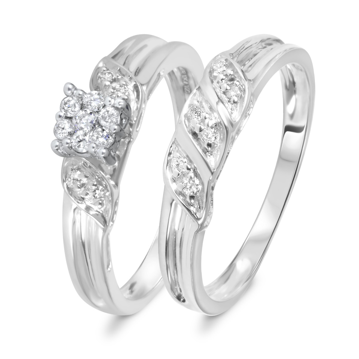1/7 Carat Diamond Bridal Wedding Ring Set 14K White Gold