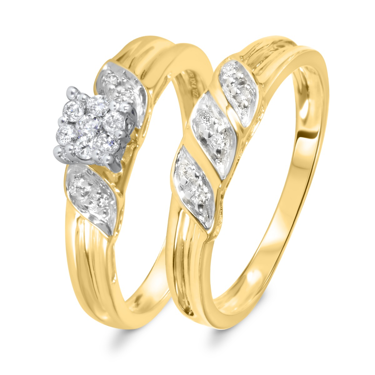 1/7 Carat Diamond Bridal Wedding Ring Set 10K Yellow Gold