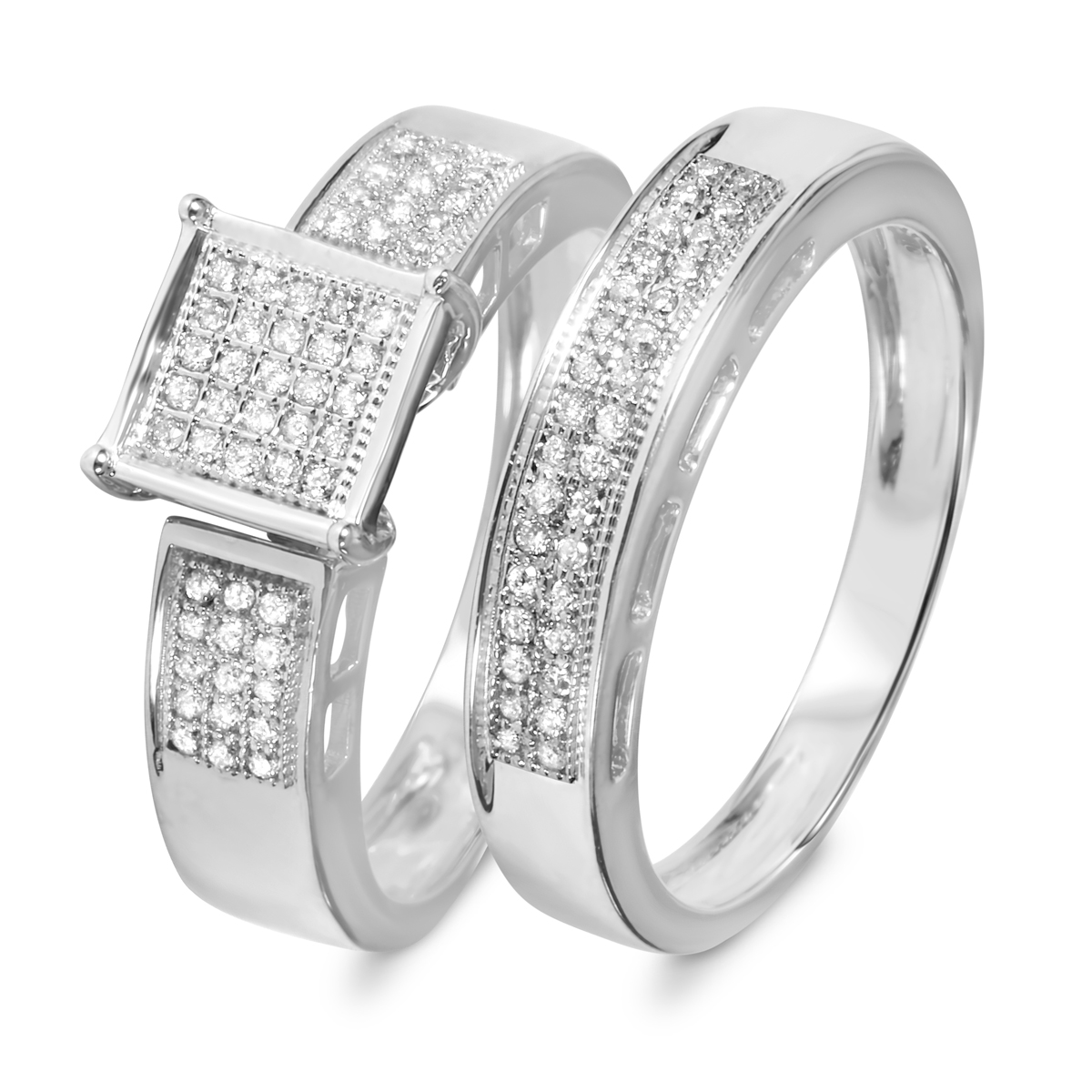 1/4 Carat Diamond Bridal Wedding Ring Set 14K White Gold