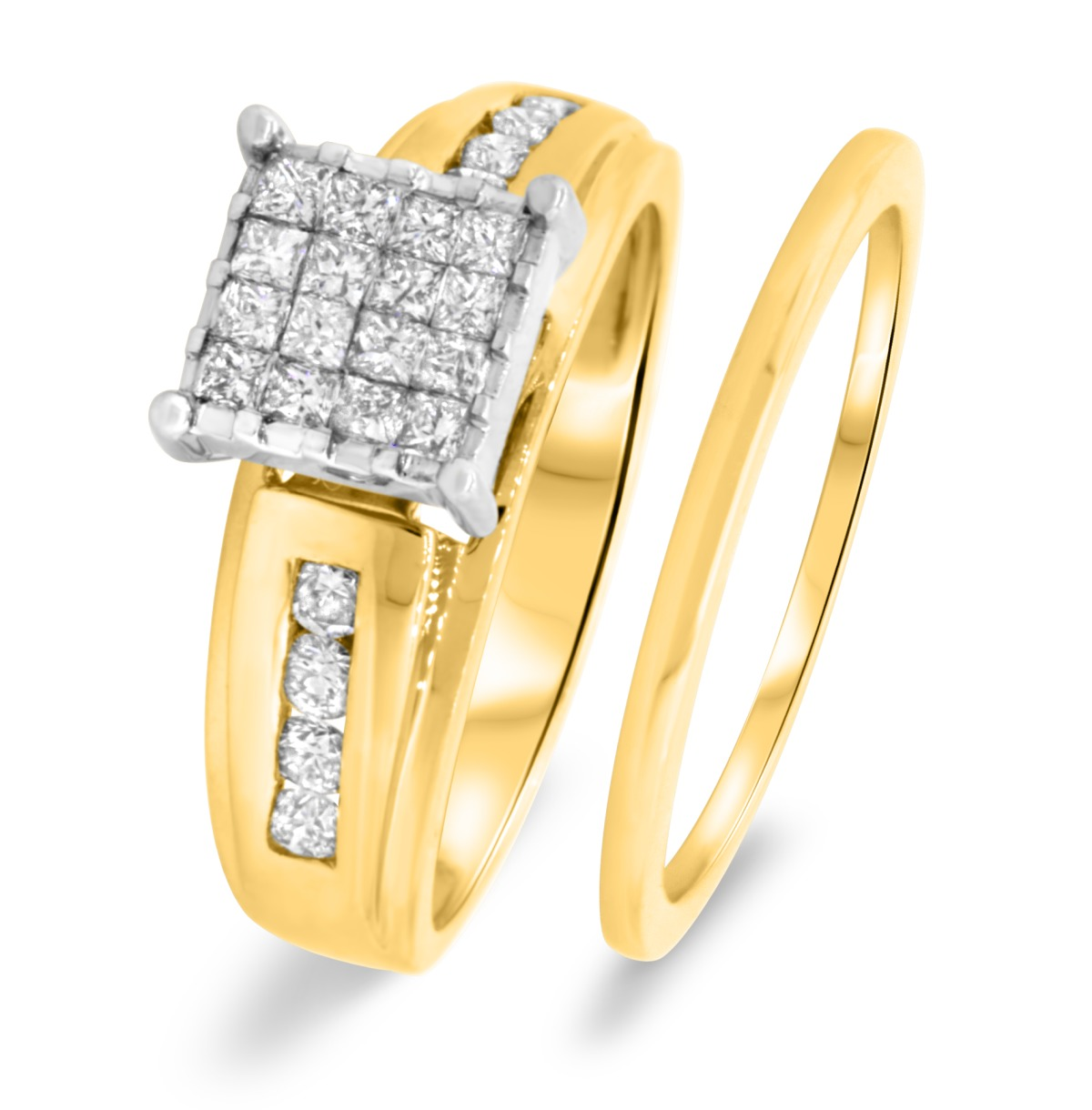 1 Carat Diamond Bridal Wedding Ring Set 14K Yellow Gold