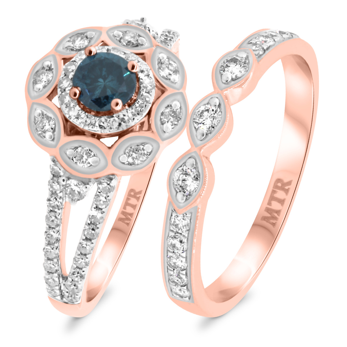 2 1/5 Carat T.W. Diamond Matching Bridal Ring Set 10K Rose Gold