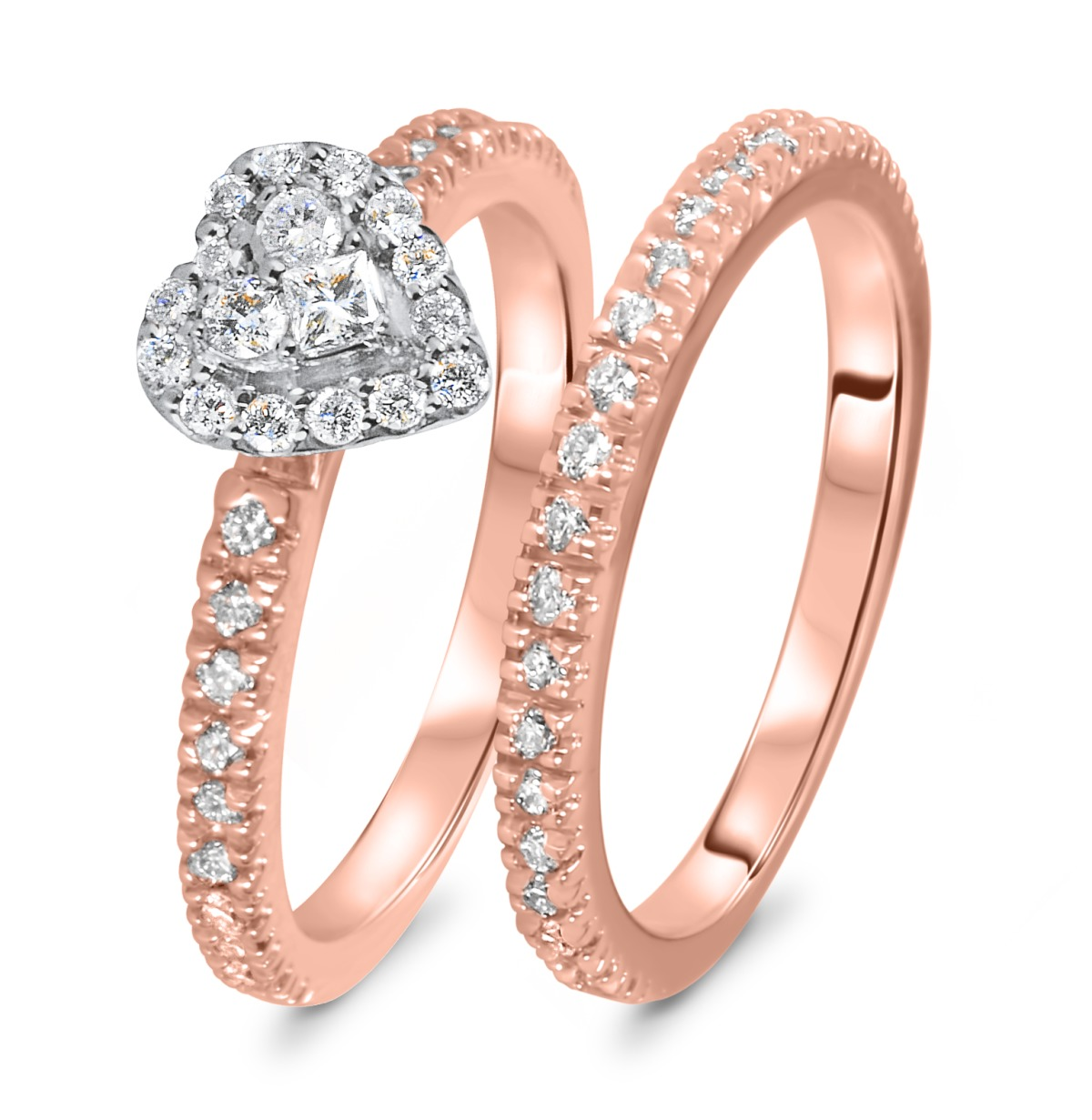 2/3 CT. T.W. Diamond Women's Bridal Wedding Ring Set 14K Rose Gold