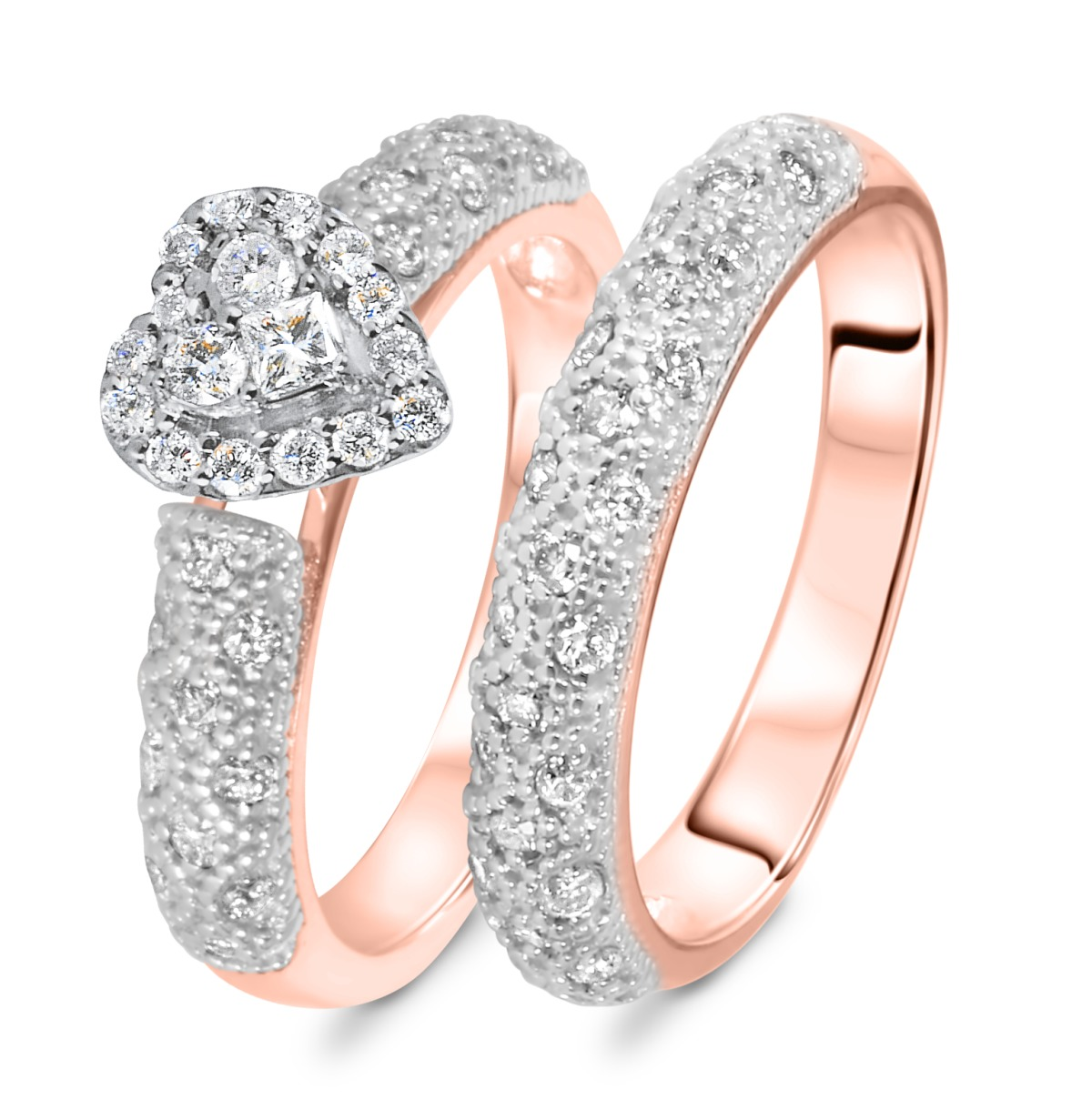 3/4 CT. T.W. Diamond Women's Bridal Wedding Ring Set 14K Rose Gold