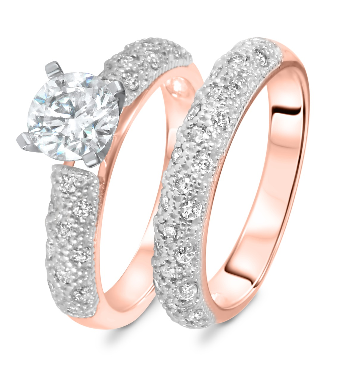 1 1/2 CT. T.W. Diamond Women's Bridal Wedding Ring Set 14K Rose Gold