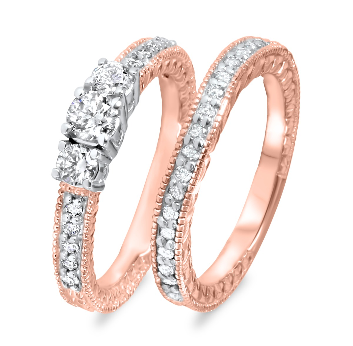 2/3 CT. T.W. Round Cut Diamond Ladies Bridal Wedding Ring Set 14K Rose Gold