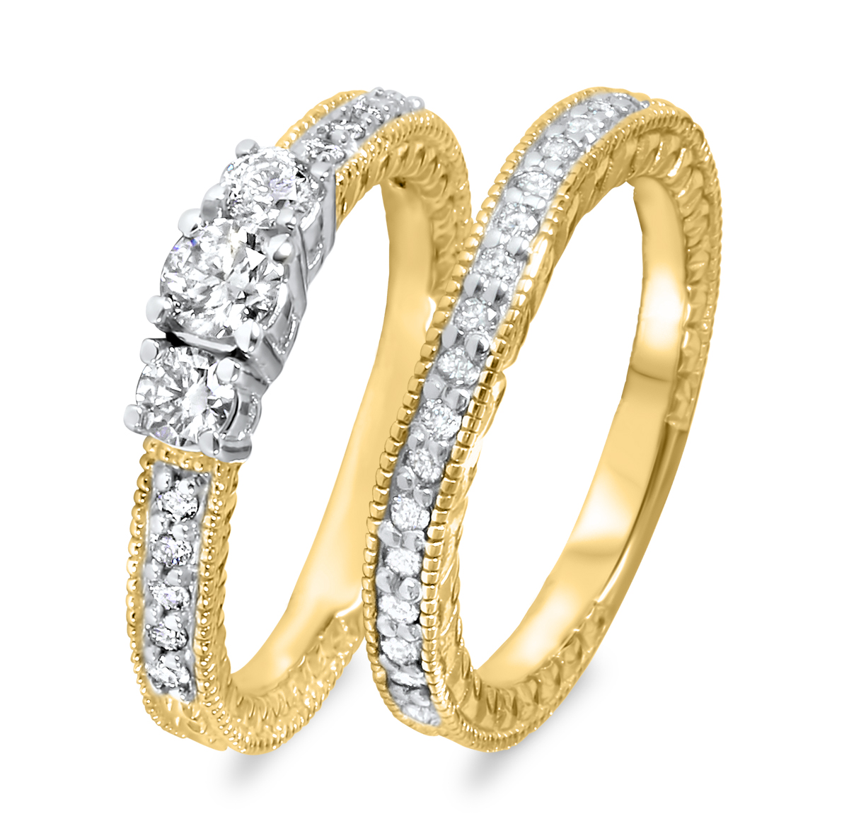 2/3 CT. T.W. Round Cut Diamond Ladies Bridal Wedding Ring Set 10K Yellow Gold