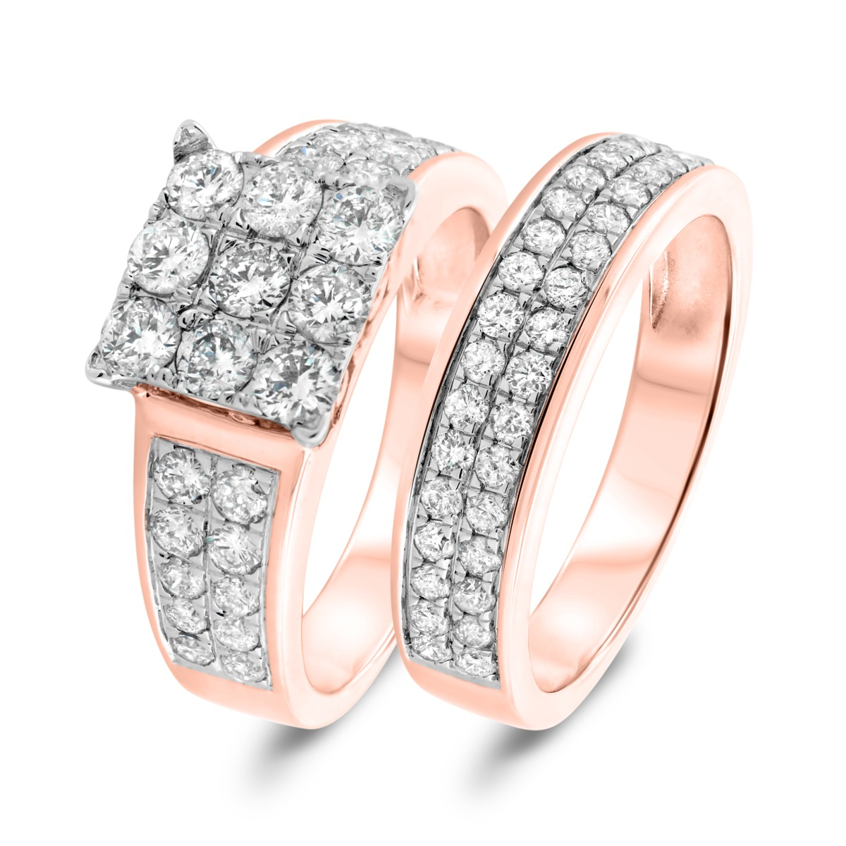 2 1/5 Carat T.W. Diamond Matching Bridal Ring Set 14K Rose Gold