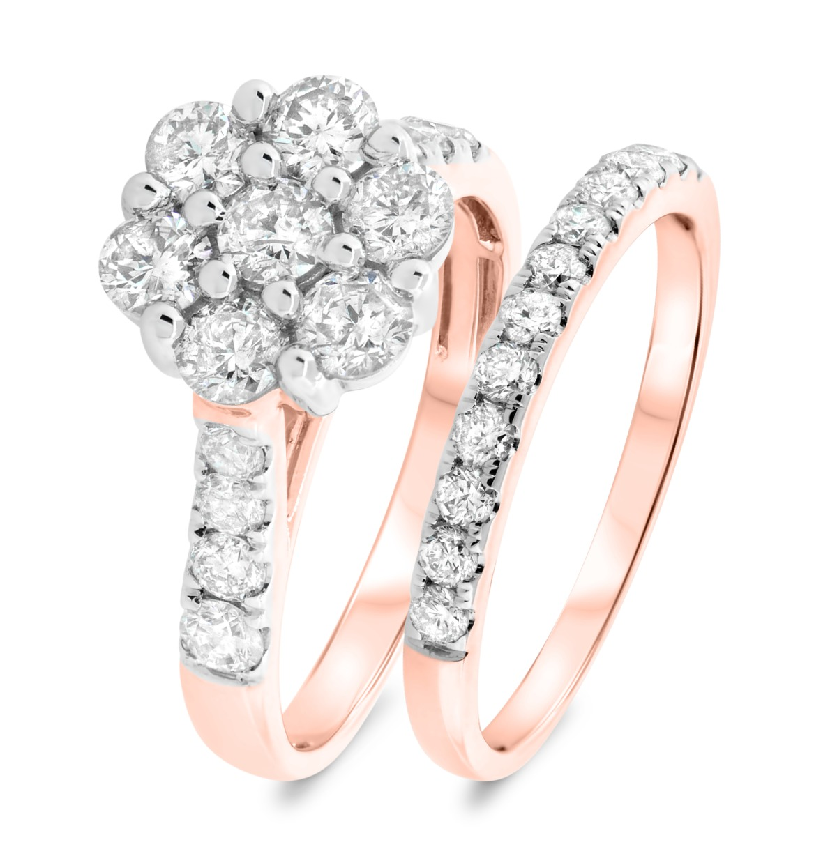 1 7/8 CT. T.W. Diamond Matching Bridal Ring Set 14K Rose Gold