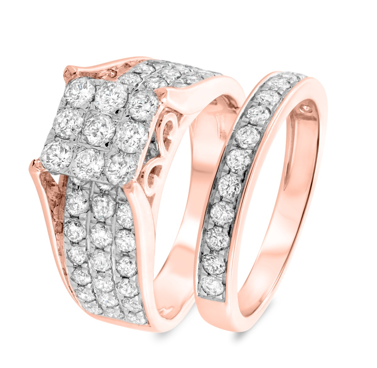 2 1/2 Carat T.W. Diamond Matching Bridal Ring Set 14K Rose Gold
