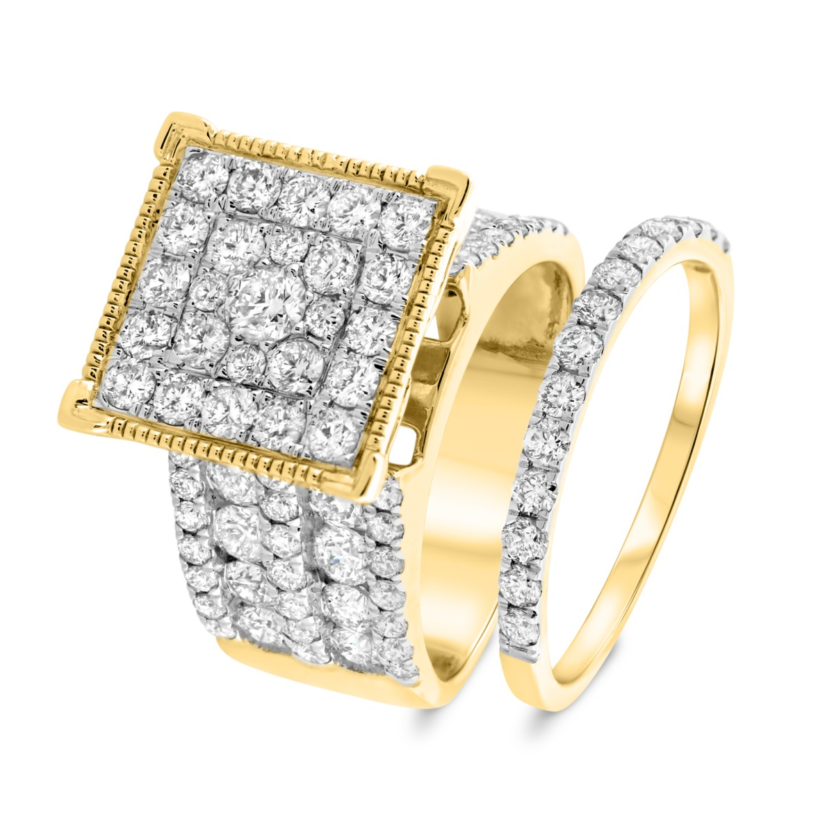 3 3/8 Carat T.W. Diamond Matching Bridal Ring Set 14K Yellow Gold