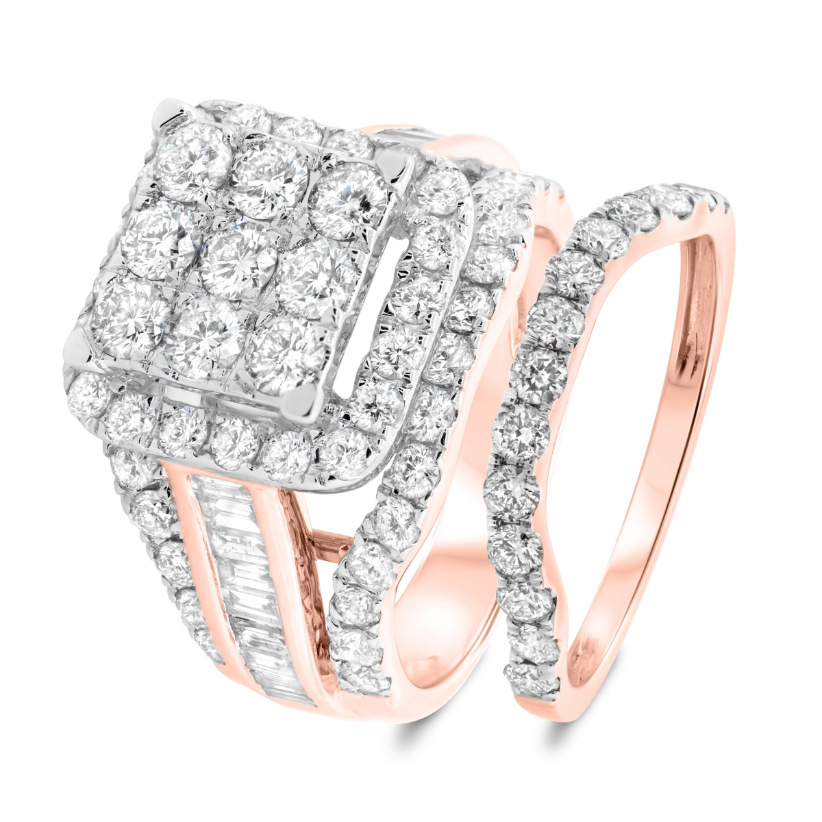 4 Carat T.W. Diamond Matching Bridal Ring Set 10K Rose Gold