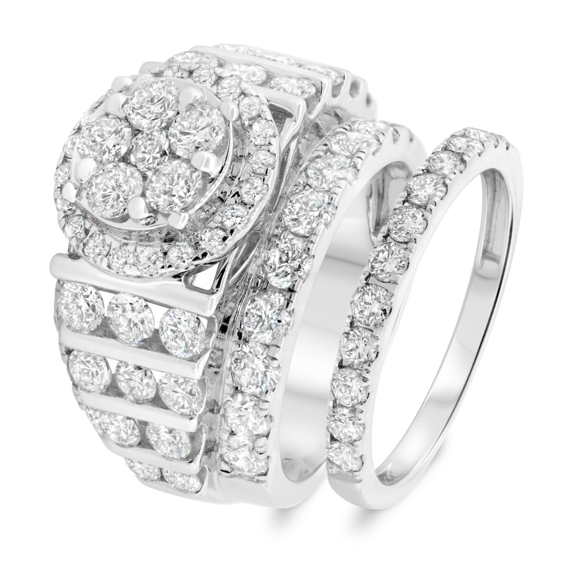 4 1/2 CT. T.W. Diamond Matching Bridal Ring Set 14K White Gold
