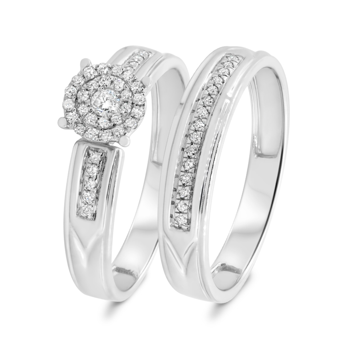 1/4 Carat T.W. Diamond Matching Bridal Ring Set 14K White Gold