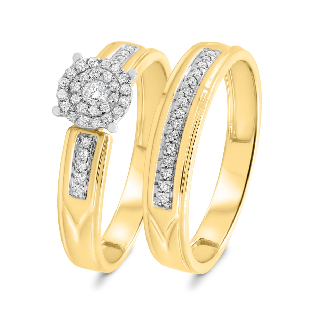 1/4 CT. T.W. Diamond Matching Bridal Ring Set 10K Yellow Gold