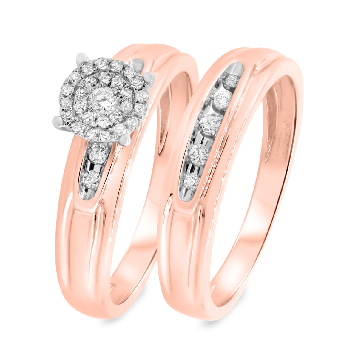 1/4 CT. T.W. Diamond Matching Bridal Ring Set 14K Rose Gold