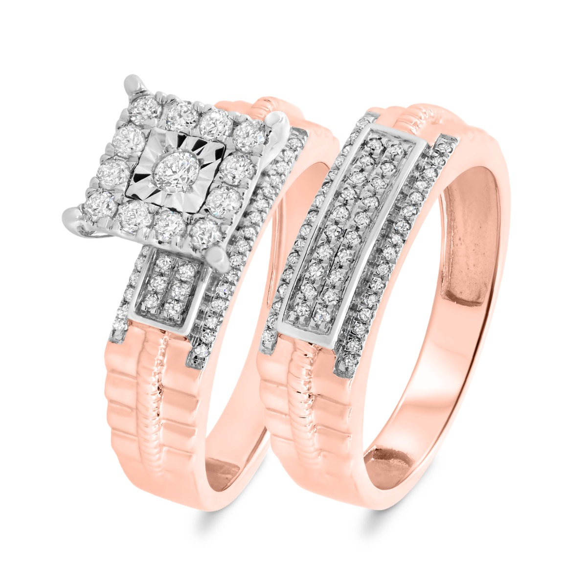 1/2 CT. T.W. Diamond Matching Bridal Ring Set 14K Rose Gold