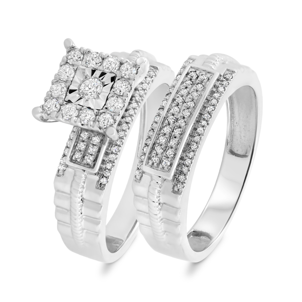 1/2 CT. T.W. Diamond Matching Bridal Ring Set 14K White Gold