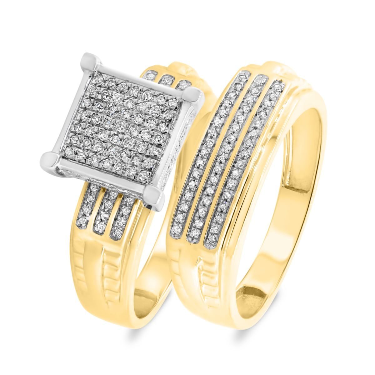1/3 CT. T.W. Diamond Matching Bridal Ring Set 10K Yellow Gold