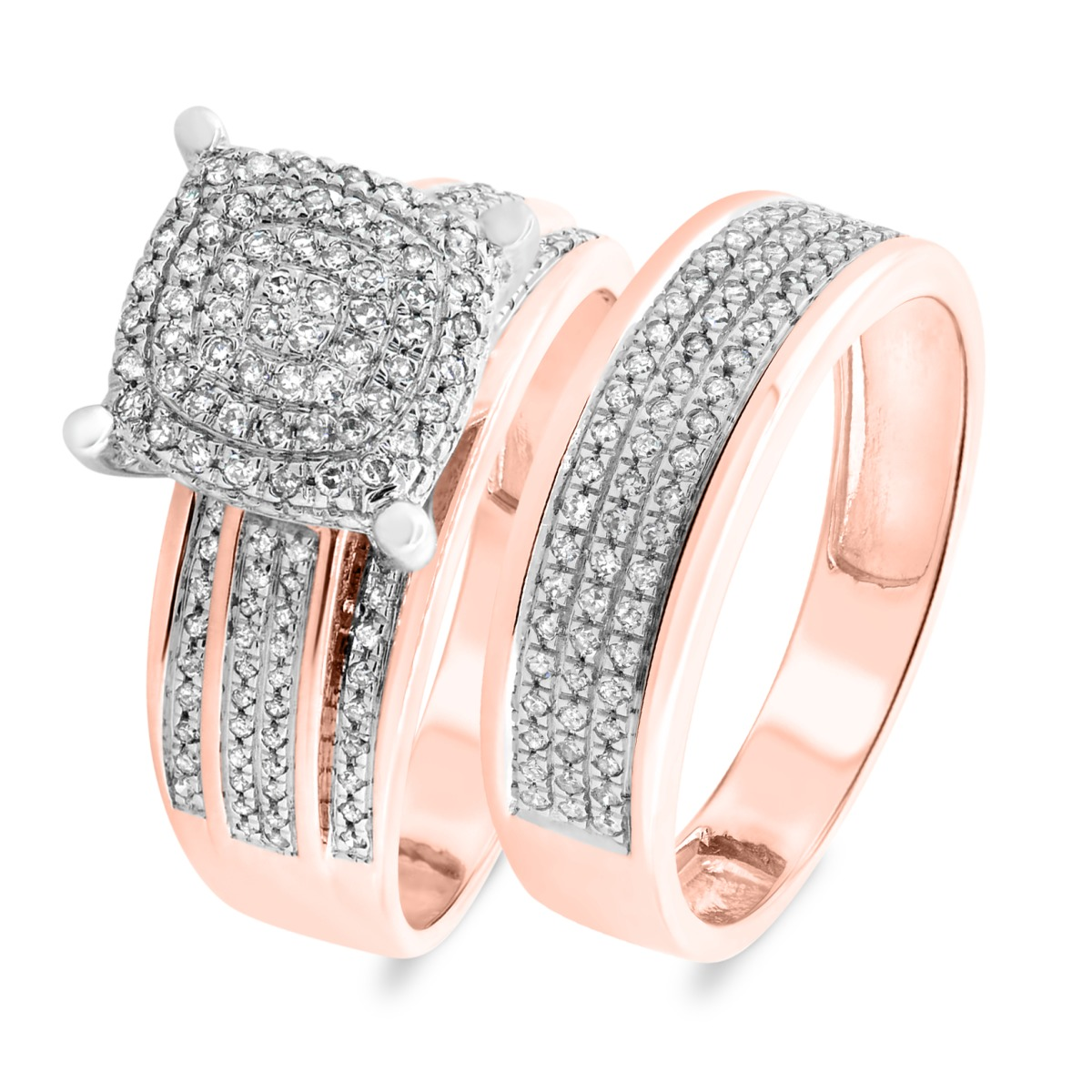1/2 Carat T.W. Diamond Matching Bridal Ring Set 14K Rose Gold