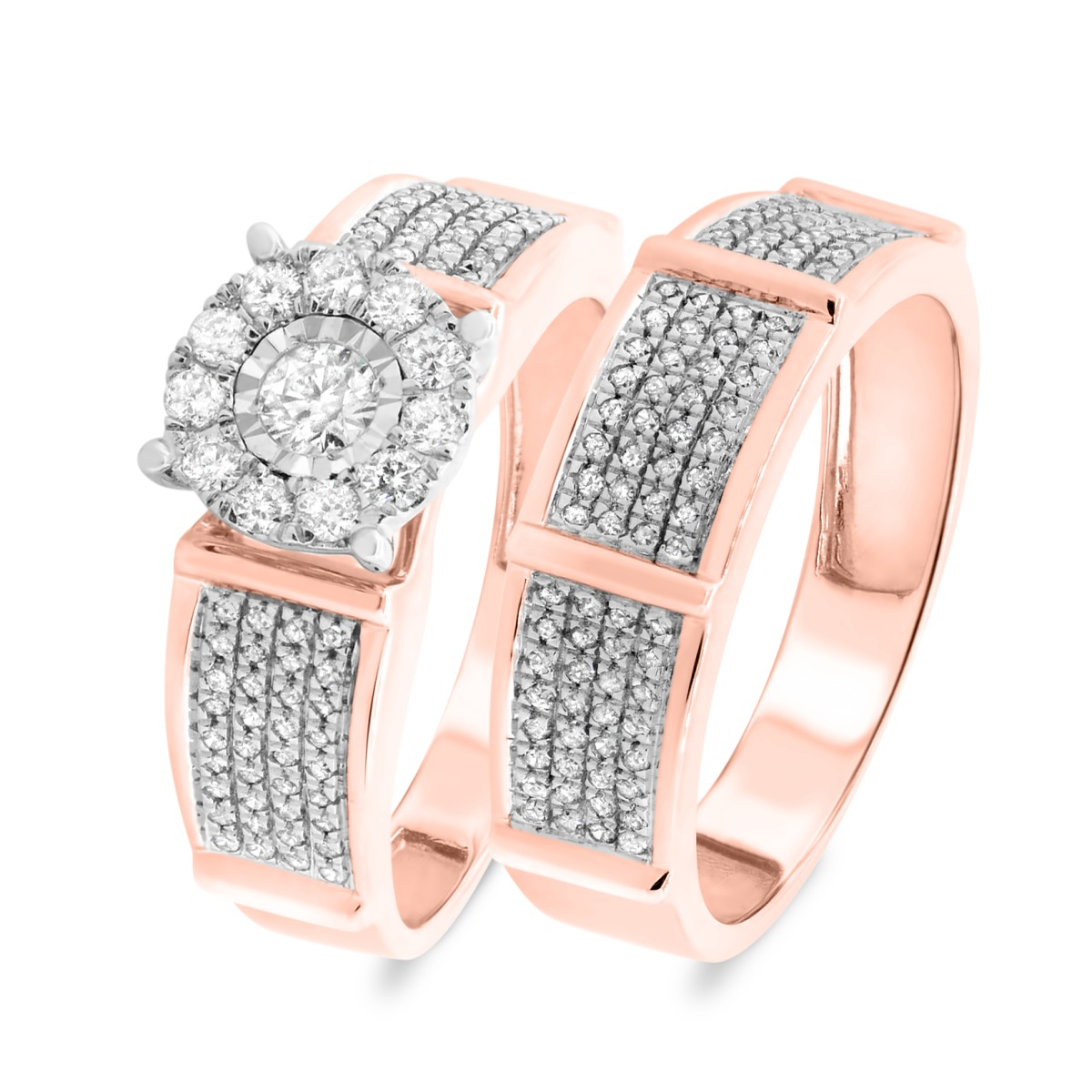 2/3 Carat T.W. Diamond Matching Bridal Ring Set 10K Rose Gold