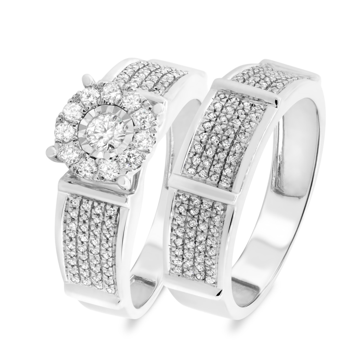 2/3 Carat T.W. Diamond Matching Bridal Ring Set 10K White Gold