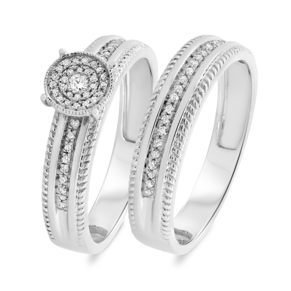 1/5 CT. T.W. Diamond Matching Bridal Ring Set 14K White Gold