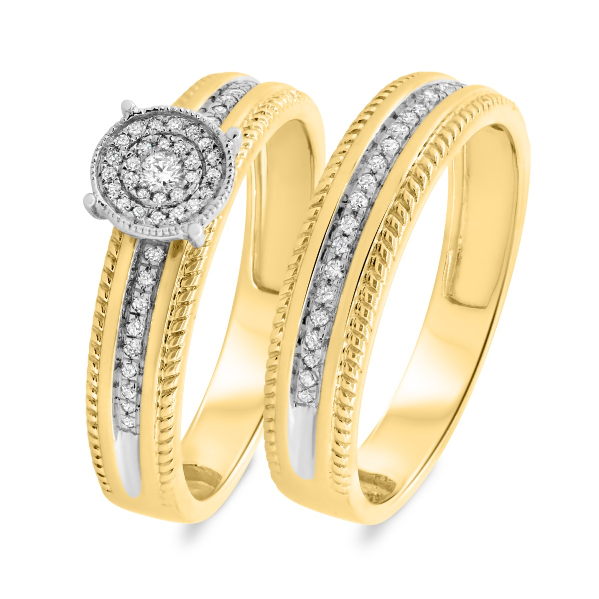 1/5 CT. T.W. Diamond Matching Bridal Ring Set 10K Yellow Gold