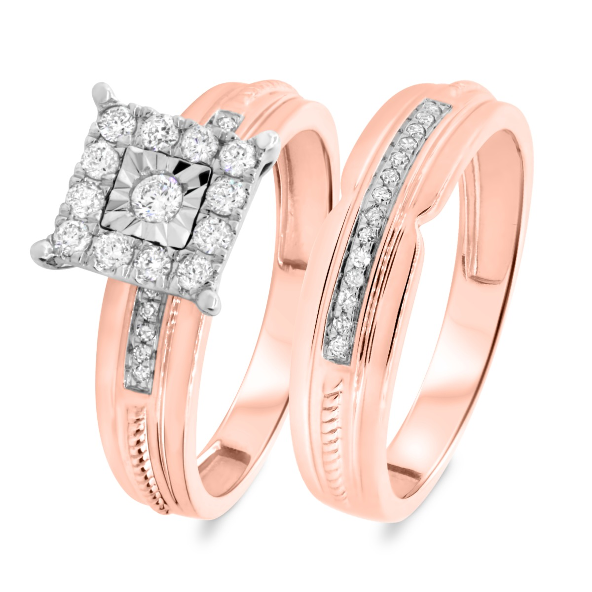 3/8 CT. T.W. Diamond Matching Bridal Ring Set 10K Rose Gold