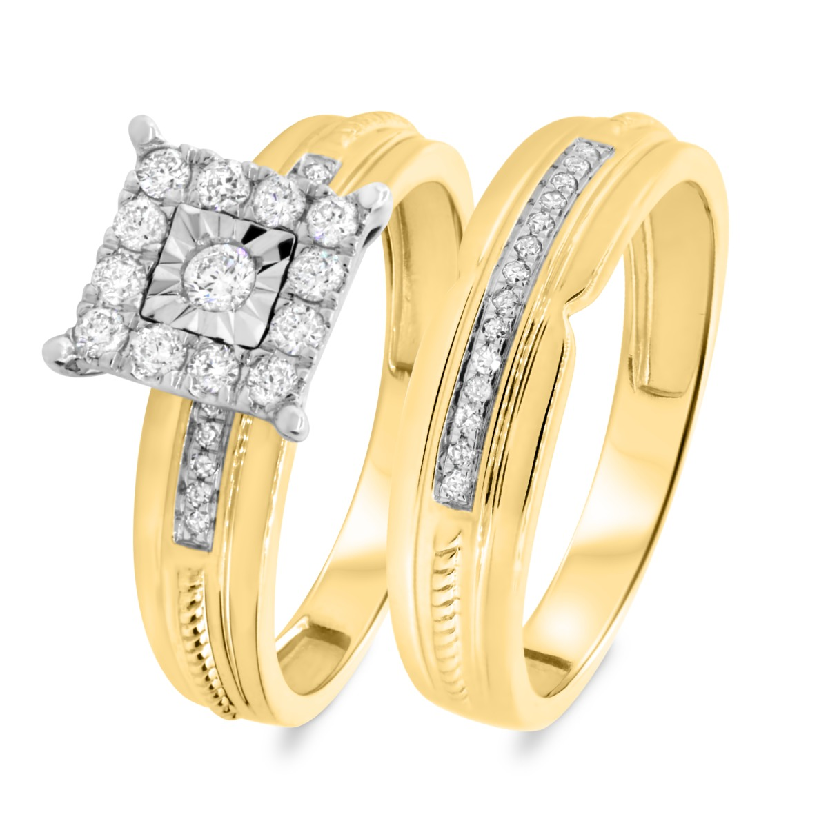 3/8 Carat T.W. Diamond Matching Bridal Ring Set 14K Yellow Gold