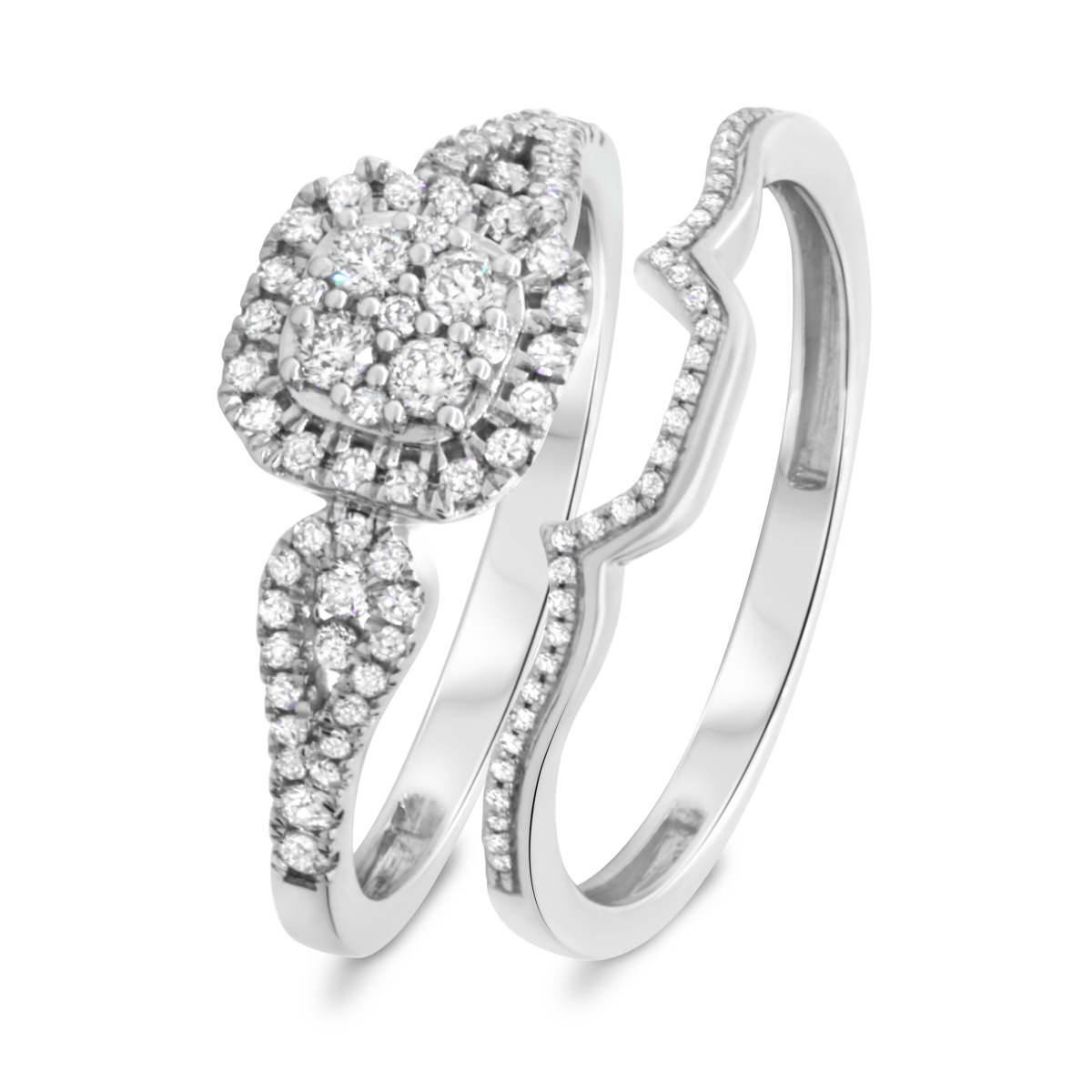 3/4 Carat T.W. Diamond Matching Bridal Ring Set 10K White Gold