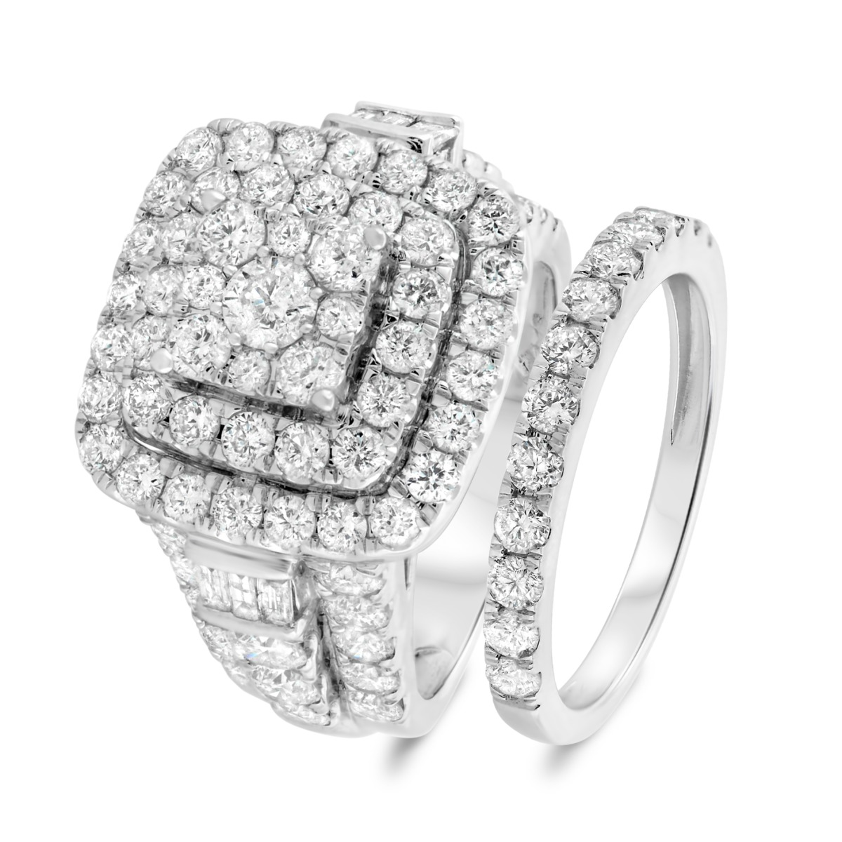 4 3/4 Carat T.W. Diamond Matching Bridal Ring Set 14K White Gold
