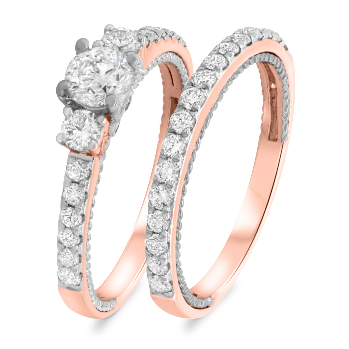 1 1/6 Carat T.W. Diamond Matching Bridal Ring Set 10K Rose Gold