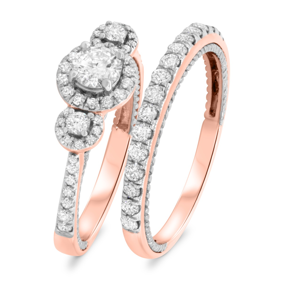 1 1/5 CT. T.W. Diamond Matching Bridal Ring Set 10K Rose Gold