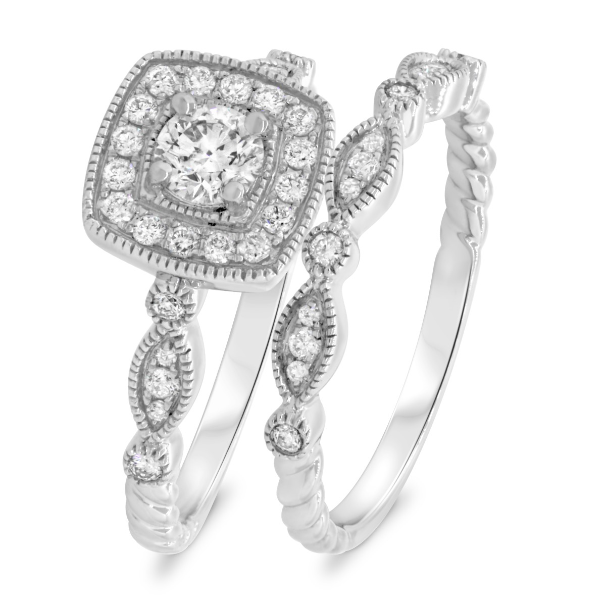 2/3 CT. T.W. Diamond Matching Bridal Ring Set 10K White Gold